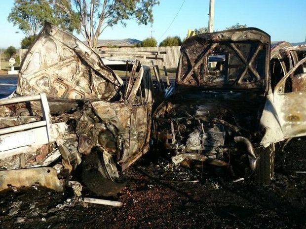 Two men were taken to hospital after a fiery two-vehicle crash at Lake Clarendon on Friday morning, August 29. Photo Contributed