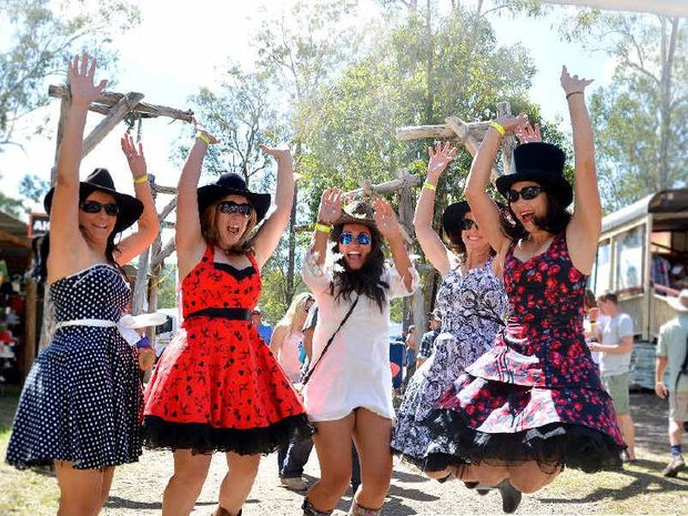 YEE HAH: Renae Nawrocki, Kara Reynolds, Justiss Heard, Amber Pickering and Heidi Jones get into the spirit of the Muster yesterday.