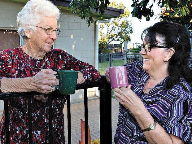 GOOD FRIENDS: Pat O'Donoghue, left, and Robyn Geiger have been good neighbours for years, so much so that Pat will even take Robyn's washing off the line. They regularly enjoy a cuppa and a chat over the fence.