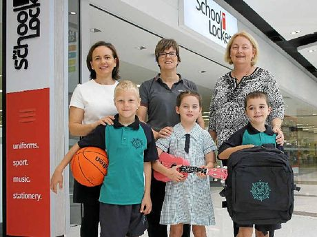 THEY'LL BE BACK: Buddina State School students Chris, Sienna and Hayden with Maroochydore Homemaker Centre manager Rebecca Gill, The School Locker store manager Kerry O'Connell and Buddina school principal Fiona McFadzean.