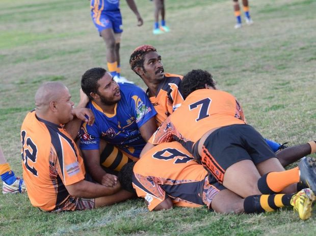HORNETS ON TOP: Cherbourg Hornets win the 2014 grand final over Murgon Mustangs