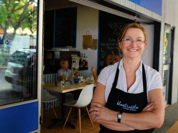 Roslyn Bowes outside the Blue Truffle Cafe on East Street. Photo: Chris Ison / The Morning Bulletin