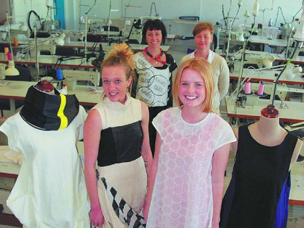 FASHIONS: Models Taylor Robe and Maddie Burr and designers Yasmin Bridges and Clare Faulds.