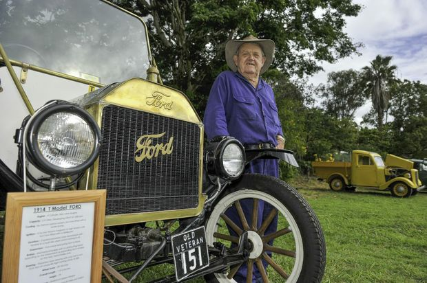 Miriam Vale Vintage and classic cars show - Gordon Whittaker with his 1914 T Model Ford. Photo Mike Richards / The Observer