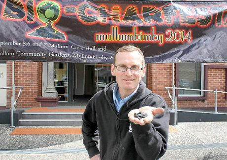 BIG HIT: John Sanderson from Earth Systems shows off some biochar at Mullumbimby's Bio-charfest at the weekend.