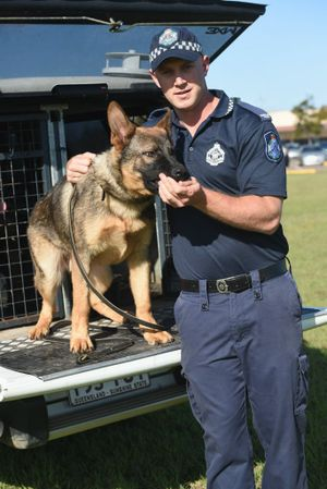 Constable Alex Heaney and recruit dog Rebel.