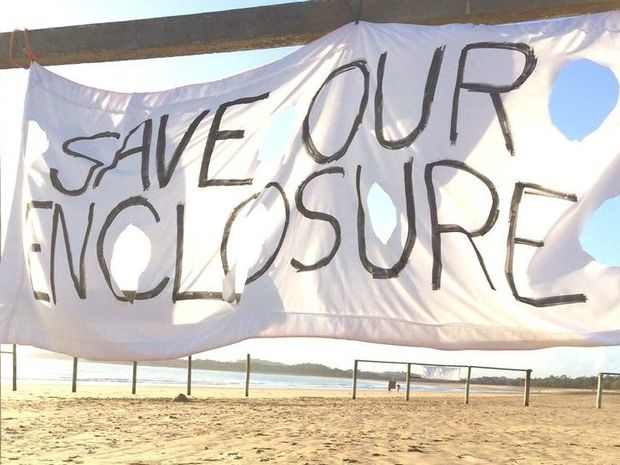 Residents have taken a stand against the removal of the swimming enclosure at Bucasia.