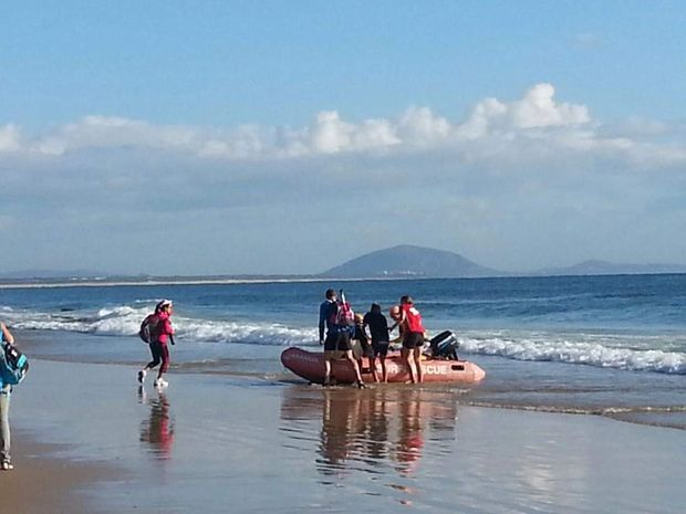 Rescue efforts to save a competitor who had a heart attack in the Ironman 70.3 triathlon at Mooloolaba on the weekend.
