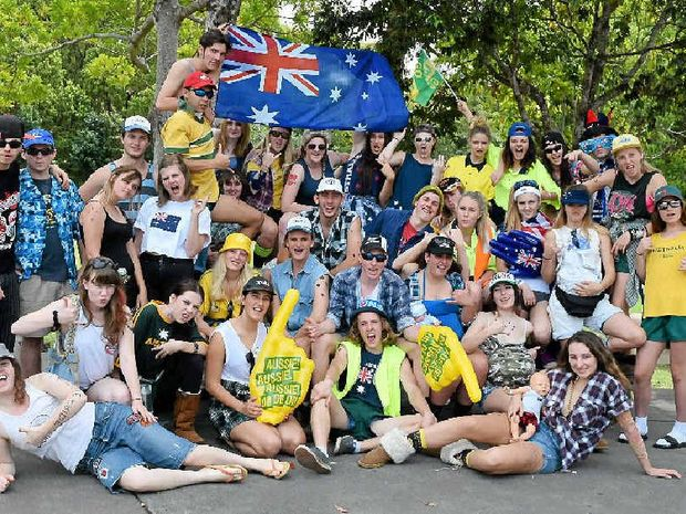 SCHOOL'S OUT: Mullumbimby High's Year 12 students celebrating their last official week at school through a series of dress-up days. Yesterday the theme was Aussie Bogans.