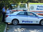 Police at the Tallow Beach carpark today.