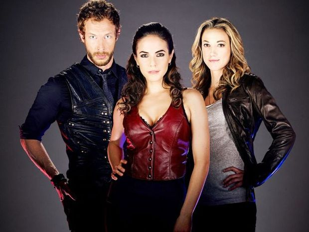 FUN AND SEXY: Kris Holden-Ried as Dyson, Anna Silk as Bo and Zoie Palmer as Lauren in Lost Girl on SBS2.