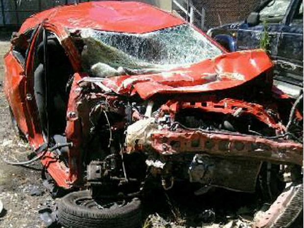 The Toyota Yaris the group of four were travelling in was almost unrecognisable in the crash.