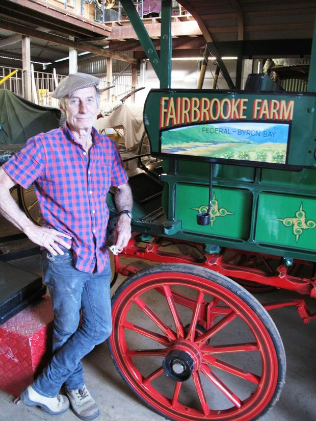 COLLECTOR: Fairbrooke Farm's Ross Porter with his vintage horse drawn grocery delivery carriage