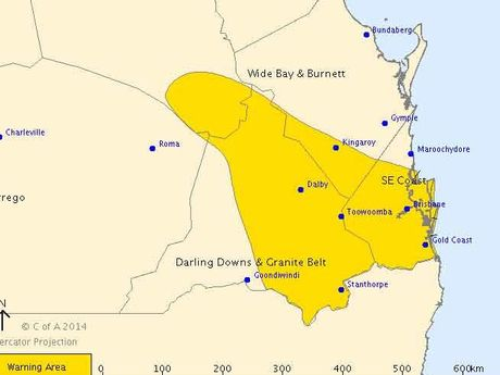 The Bureau of Meteorology's latest storm warning issued at 2.15pm.