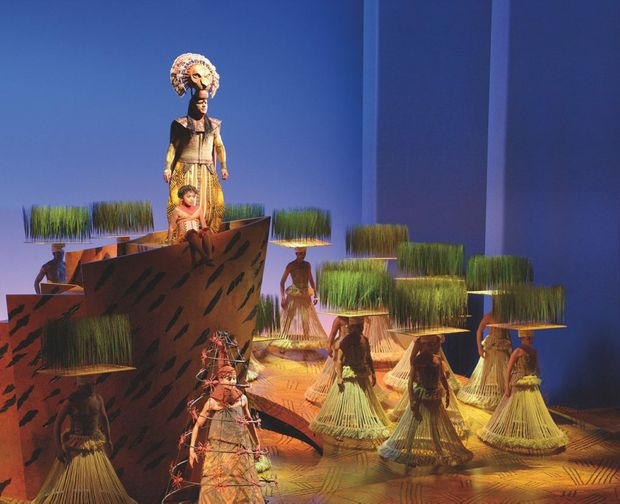 Mufasa and Simba in a scene from the musical The Lion King.