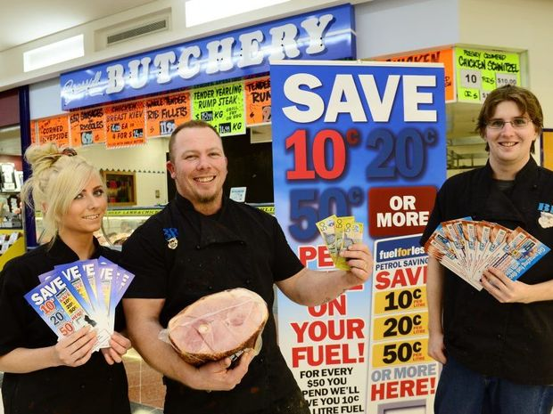 FUELLING INTEREST: (From left) Amy Lawrance and Joshua Bohr (apprentice butchers) and John Farquhar.