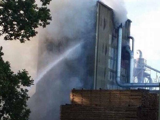BLAZE: A fire burns at a Caboolture sawmill.