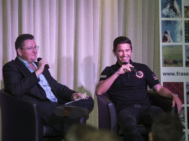 Socceroos legend Harry Kewell is interviewed by Scott Rowe during the Harry Kewell Mayoral Dinner at the Hervey Bay RSL.