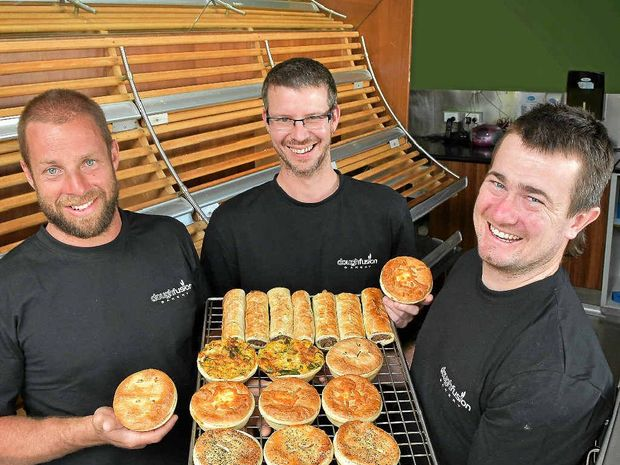 PIECE OF PIE: Dough Fusion staff Trev Railton, Justin Walker and Ricky Martin with their award-winning creations.