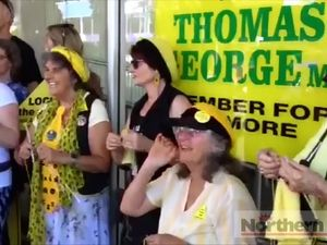 CSG protest outside Thomas George's office