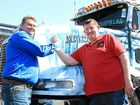 ARM WRESTLE: It was a race to see who would lead last year's Brisbane Convoy for Kids. In a hard-fought battle Scuzzy (Andrew McSweeny left) conceeded to Barry Land the night before the convoy.