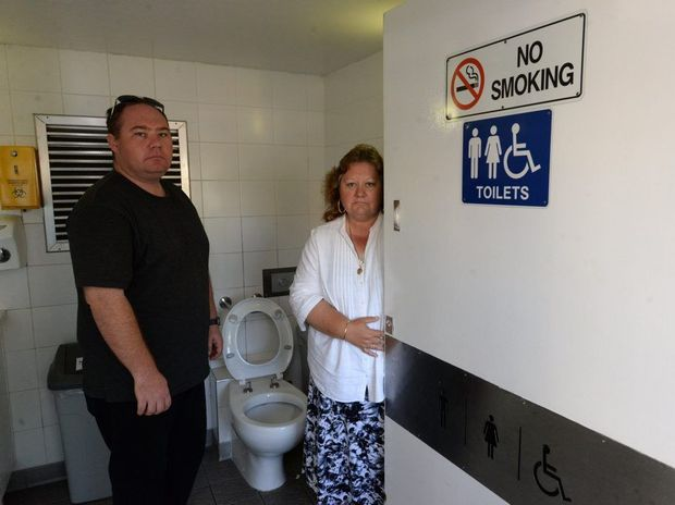 FAULTY LOCK: Diane Edmonds and her son Michael Edmonds. Diane was trapped in the Bourbong St public toilets for 20 minutes. Photo: Mike Knott / NewsMail