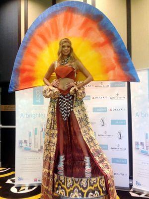 Miss Universe Australia Tegan Martin models Australia's national costume.