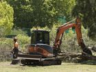 Trees cut down at Ballin Drive park on Monday October 20, 2014 .