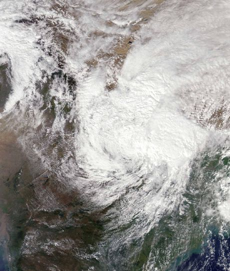 This satellite image from NASA shows the remnants of Typhoon Hudhud over India, Nepal and China.