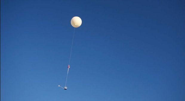 The high altitude balloon takes flight.