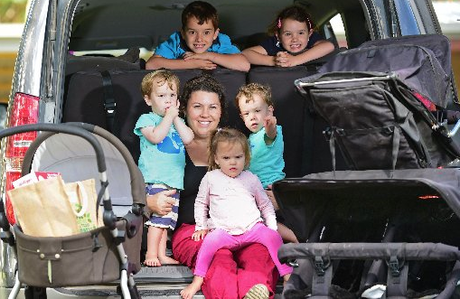 Why mums need pram parking spaces: Chenoa Trama of Yandina Creek has six kids and two large prams.
