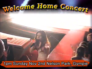 Welcome home Caitlyn Shadbolt concert