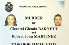 Reward poster for information on the Barnett / Martinez murder investigation offering $250,000 for information.