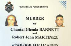 Reward poster for information on the Barnett / Martinez murder investigation offering $250,000 for information.