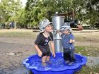 Toowoomba woman, Michelle Quinn, starts Facebook page to push for Toowoomba water park. Brothers, Amza and Zackaidyn Fleming. Photo: Bev Lacey / The Chronicle