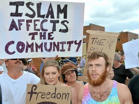 DIVISIVE ISSUE: Residents protest against the proposed mosque in Maroochydore.