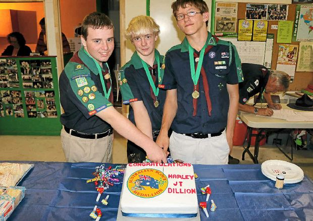 SCOUT AND ABOUT: Glenore Grove Scouts Dillion Sykes, Harley Davis and Jonathan Thompson celebrated being awarded the Australian Scout Medallion on October 24.