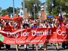 IPSWICH'S CBD turned red on Friday as the city's fourth annual Walk For Daniel weaved its way through town.