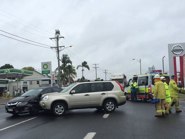 A car and a four-wheel drive have crashed at the corner of Ferry and Albert Sts in Maryborough.