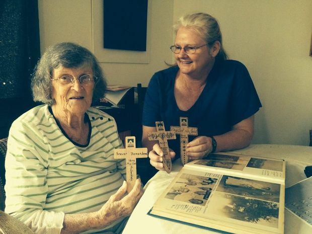 REMEMBERING: Vera Hinchcliffe and Deborah Gower at the workshop.