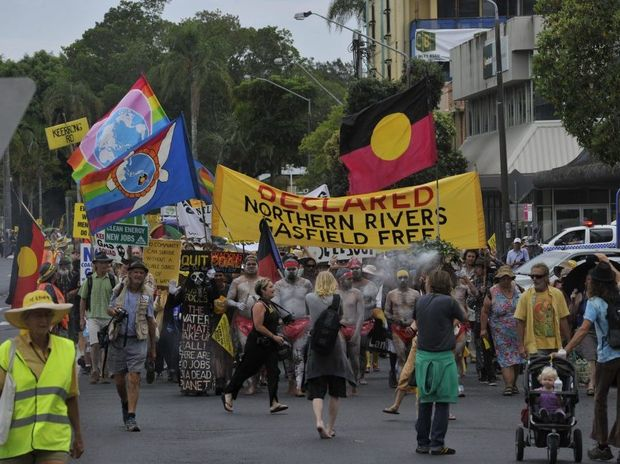 Protestors converge at Riverside Park and then head through Lismore as part of a planned rally to protest against CSG mining operations in the Northern Rivers. Photo Marc Stapelberg / The Northern Star