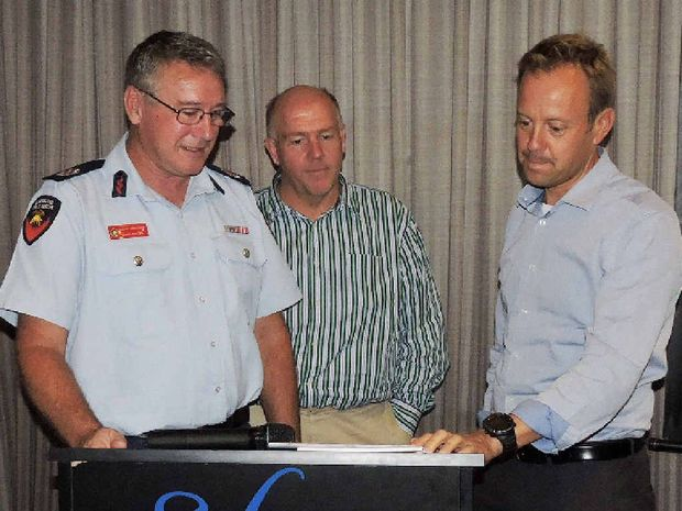 BE PREPARED: QFES Assistant Commissioner Ewan Cayzer (left), BOM flood hydrologist Paul Birch and BOM weather services manager Richard Wardle speak at the seminar.