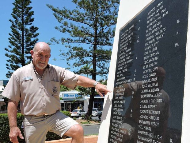ANZAC SPIRIT: Yeppoon RSL sub branch President Chris Penglase at Yeppoon's cenotaph which will get a makeover as part of funding for next year's ANZAC centenary.