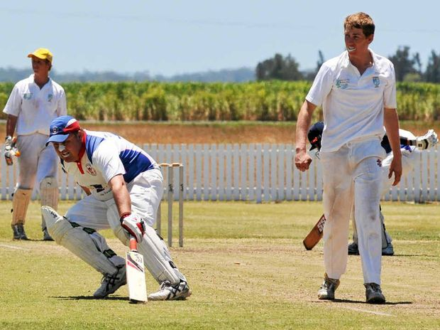 SOLID WIN: Wauchope's Matt Day makes runs against Lower Clarence at Harwood Oval. PHOTO: LEIGH JENSEN