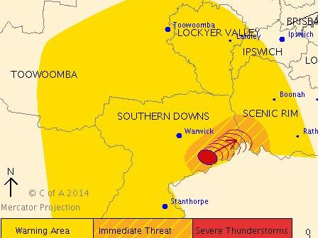 A severe thunderstorm warning issued at 1.30pm.