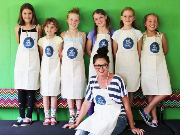 CREATOR: Meet Make Create founder Nikki Buckland with budding artists at the Mullumbimby workshop Photo