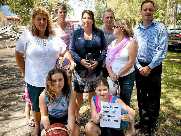 GREEN DREAM: Greens candidate for Ballina Tamara Smith (centre) promised to support a push for an indoor sports centre in the town if elected in March. She is pictured with Ballina Basketball Association's Eva Ramsey (far left), Greens MP Jeremy Buckingham (far right) and Ballina residents.