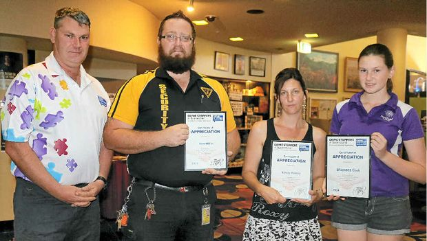 GIVING TIME: Lockyer Valley Crime Stoppers Chairperson Darren Cook with three volunteers, Ben Millis, Kirsty Hanley and Shaynece Cook, who have been recognised for one-year of service.