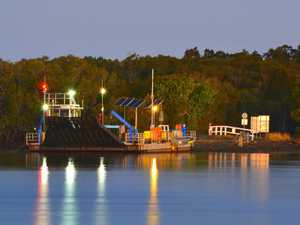 The Burns Point Ferry at Ballina all lit up in the late afternoon.
