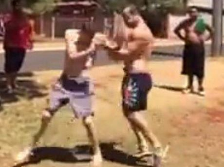 A fight erupts in suburban Toowoomba.